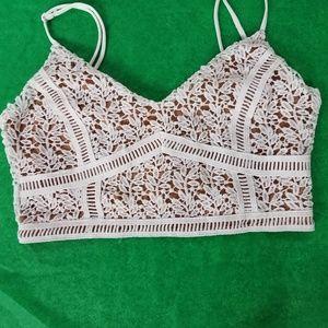 Kendall & Kyle White Crochet Bralette Sz S